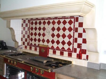 Fa ence et carrelage mural de cuisine carreaux for Carrelage damier rouge et blanc